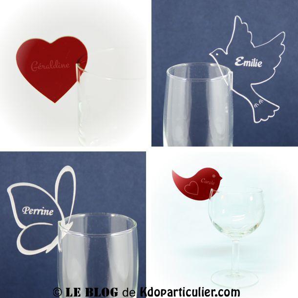 Dcoration de mariage et marque place blog - Marque place coeur pied de verre ...